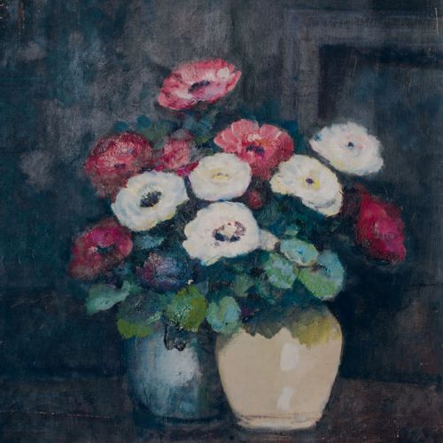 Victor CHARRETON, 1864 1936 Two vases of anemones Oil on canvas (slight wear) Si…