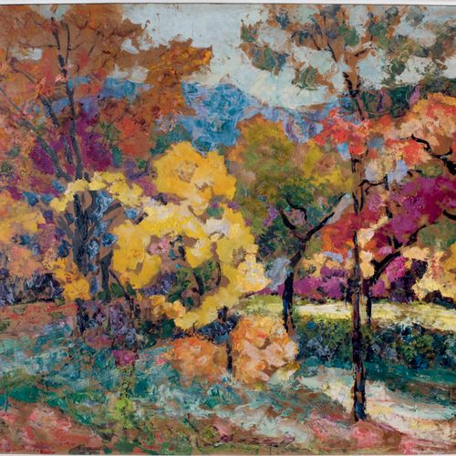 Victor CHARRETON, 1864 1936 Wood in autumn Oil on cardboard Signed lower left 66…