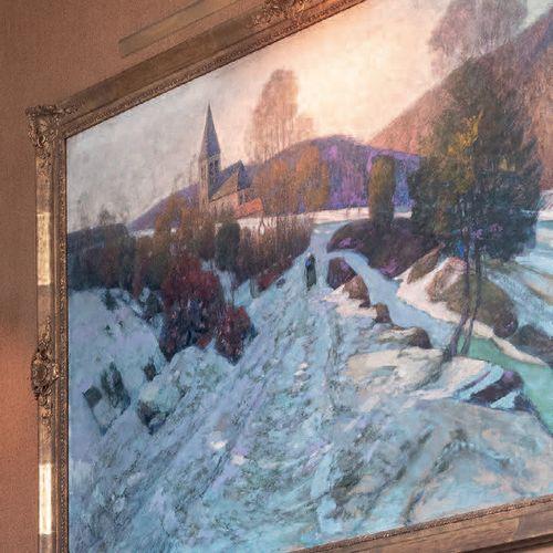 Victor CHARRETON, 1864 1936 Le chemin dans l'ombre, neige, 1911 Oil on canvas Si…