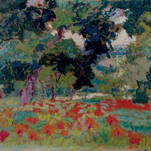 Victor CHARRETON, 1864 1936 Poppy fields and trees Oil on cardboard Signed lower…