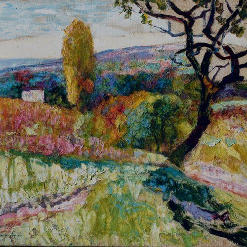 Victor CHARRETON, 1864 1936 Vallon arboré en été Oil on finette (small lacks) Si…
