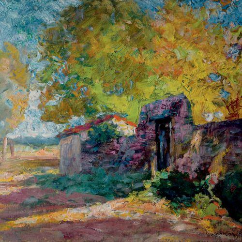 Victor CHARRETON, 1864 1936 Ferme de la Sagne Paysage en sous bois Oil on double…