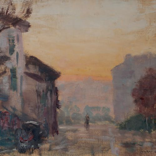 Victor CHARRETON, 1864 1936 Personage in a village street Oil on panel Signed lo…