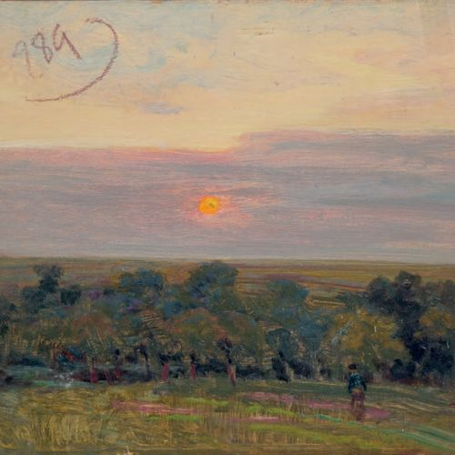 Victor CHARRETON, 1864 1936 Sunset on the moor Study of Breton woman and river b…