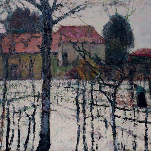 Victor CHARRETON, 1864 1936 Farmyard under the snow Oil on cardboard (small acci…