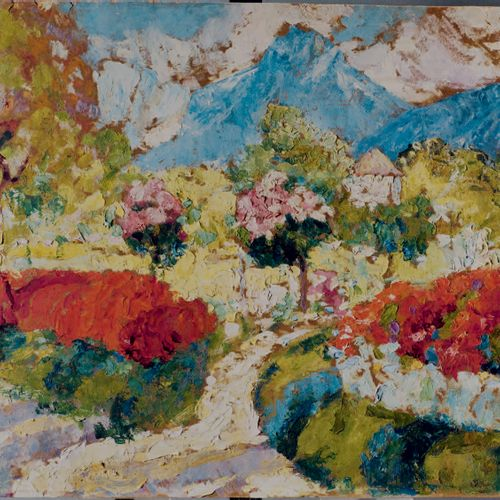 Victor CHARRETON, 1864 1936 Dovecote in a flower bed Oil on board Unsigned 41.5 …
