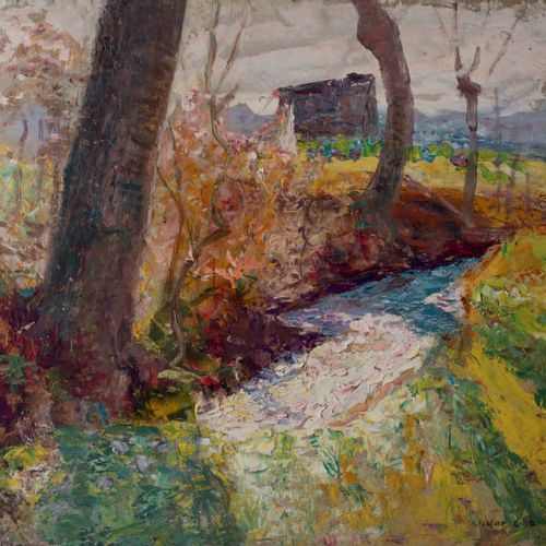 Victor CHARRETON, 1864 1936 November, Autumn Winter Oil on double sided cardboar…