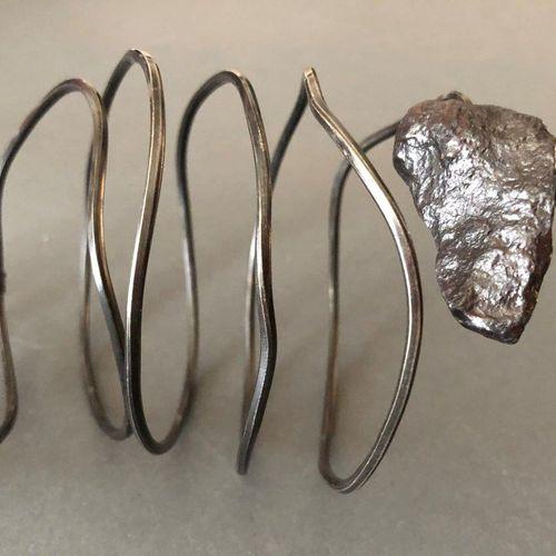 Angela Pintaldi Angela Pintaldi Bracelet Argent, topaze fumée, météorite L.21 cm…