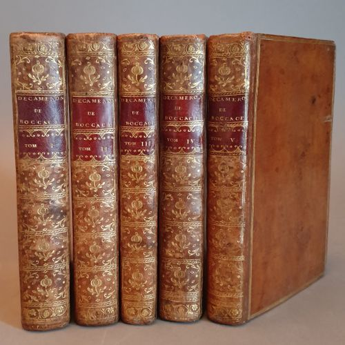 BOCCACE. Le Decameron. Paris, 1757 1761. 5 volumes in 8, fawn calf, triple gilt …
