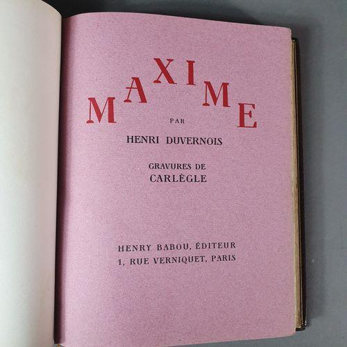 DUVERNOIS (Henri). Maxime. Paris, Henry Barbou, 1929. In 4, maroquin brun, jansé…