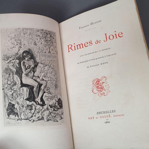 HANNON (Théodore). Rimes de joie. Avec une préface de J. K. Huysmans. Bruxelles,…