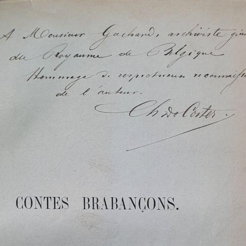 COSTER (Jacques de). Contes brabançons. Paris, Michel Lévy frères, 1861. In 8, b…