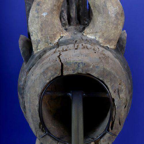 Important masque heaume bonu amuin mélangeant les traits de divers animaux, le c…