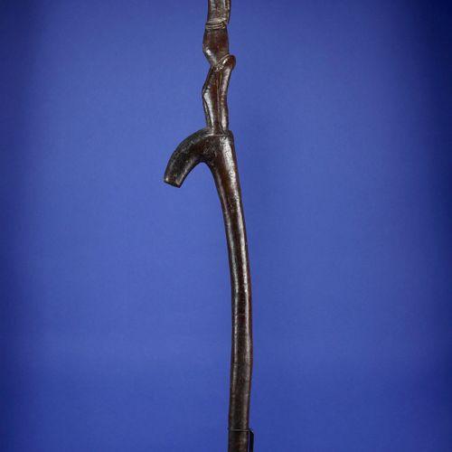 Récade de chef sculptée en son sommet d'un personnage féminin janus. Bois à prof…