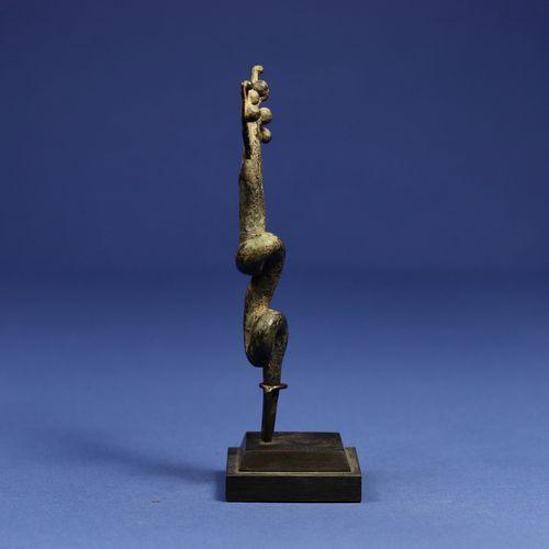 Bronze rituel en forme de serpent à trois têtes. Gan, Burkina Faso. H. 14 cm. Pr…