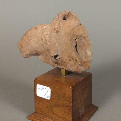 Buste représentant Eros drapé, coiffée d une double couronne de fruits.  Terre c…