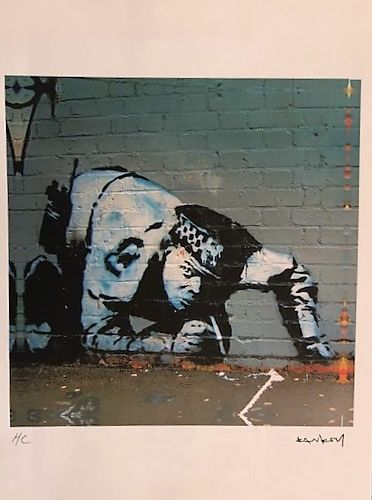 "BANKSY (1974 ) Print ""POLICEMAN SNIFFER"",Inkjet,after the work of the artist,out…"
