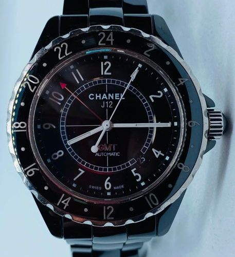 CHANEL CHANEL J 12 GMT, Black ceramic watch, automatic winding, second time zone…