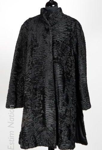 SPRUNG frères MANTEAU en breitschwanz lustré noir, deux poches, fente côté (env …