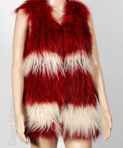 ZADIG & VOLTAIRE THE LOOKS VESTE en raton laveur lustré rouge alterné de bandes …