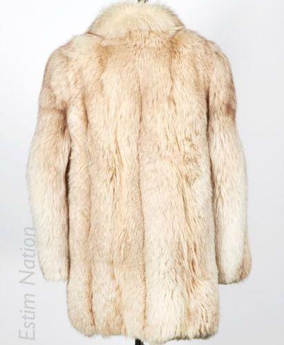 ANONYME Vintage MANTEAU 3/4 en renard polaire, crochet, deux poches (env T M) (f…