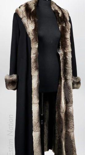 ANONYME Vintage PELISSE en laine noire, intérieur et garniture en chinchilla (en…