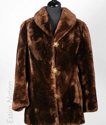 ANONYME Vintage VESTE en mouton doré chocolat, deux boutons, simple boutonnage e…