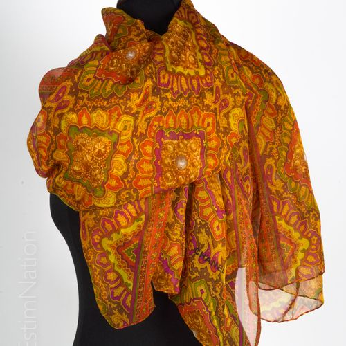 CHANEL STOLE in chiffon printed with brooches on a cashmere background in orange…