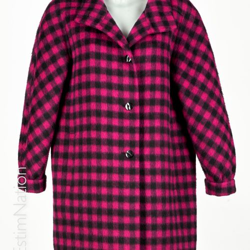 HERNO Alpaca and wool coat with black and fuchsia pink checks, stand up collar, …