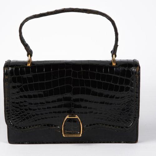 "HERMES 24 FAUBOURG SAINT HONORE CIRCA 1940 BAG ""ETRIER"" in black glossy estuary …"