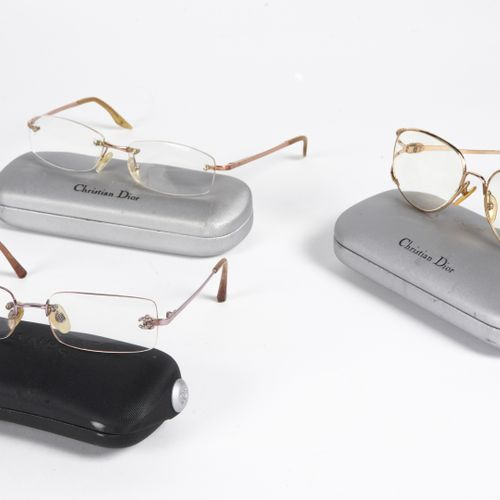 CHANEL, Christian DIOR THREE PAIRS OF MOUNTINGS OF LUNETTES OF VIEWS (in their c…
