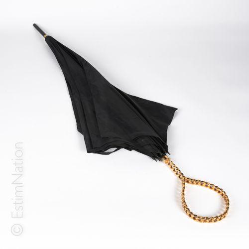 MAISON GASPARD POUR CHANEL (COLLECTION PRINTEMPS ETE 1989) UMBRELLA in black nyl…