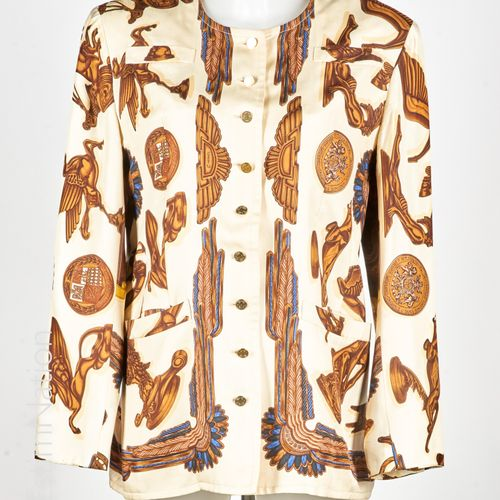 "HERMES PARIS CIRCA 1988 Jacket in silk twill printed after the square titled ""Pa…"