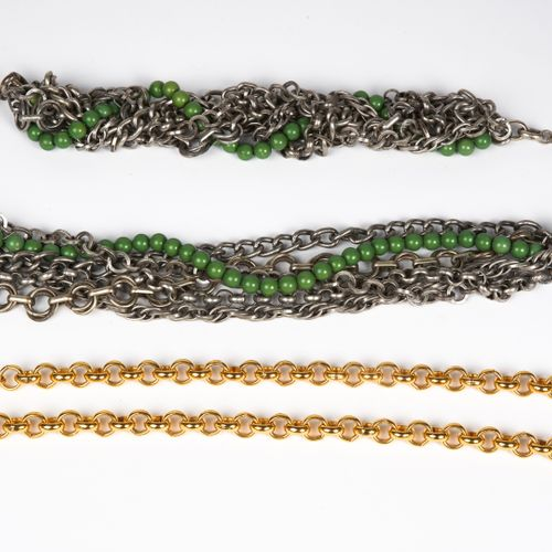 LIU JO, ANONYME BELT composed of links braided around a chain of green beads (si…