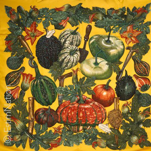"HERMES Paris SQUARE in printed silk twill titled ""Citrouilles et coloquintes"" (s…"