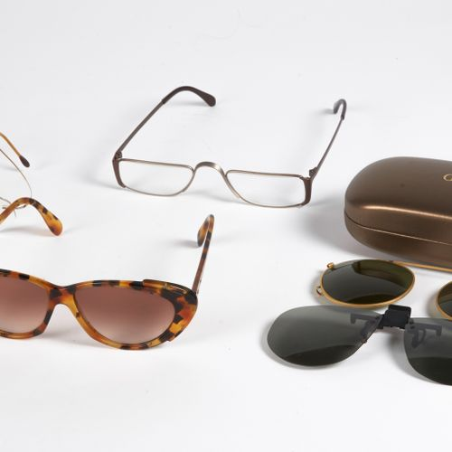 GUCCI, SILHOUETTE, ANONYME TWO AVIATION GLASS MOUNTINGS to be adapted (unsigned)…