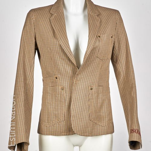 Dsquared2 Asymmetrical length cotton jacket with a checkered pattern in camel an…