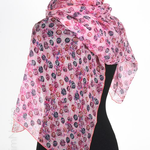CHRISTIAN DIOR Scarf in chiffon printed with the logo on a pink background, prin…