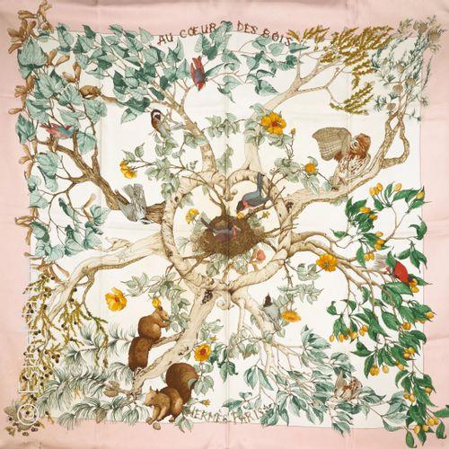"HERMES Paris SQUARE in printed silk twill titled ""Au coeur des bois"" (tears at b…"