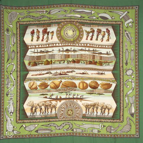 "HERMES Paris SQUARE in printed silk twill titled ""La vie du fleuve"" (in its orig…"