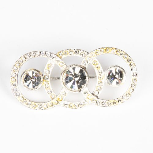 Yves Saint LAURENT SPINDLE with three circles in silvery metal and strass (clean…