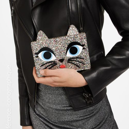 """Karl LAGERFELD CHOUPETTE"""" MINAUDIERE in acrylic glitter with its chromed chain (…"""