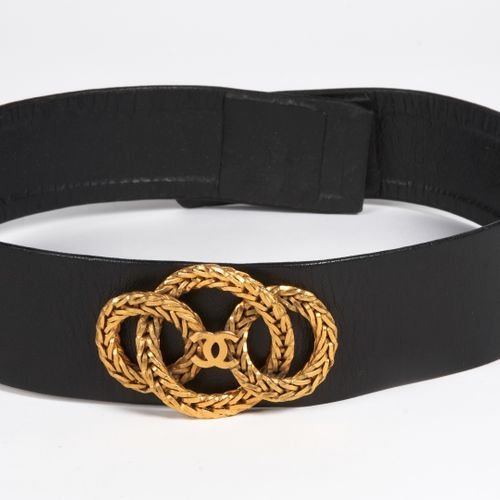 CHANEL (COLLECTION HAUTE COUTURE PRINTEEMPS ETE 1988) WIDE BELT in black lambski…