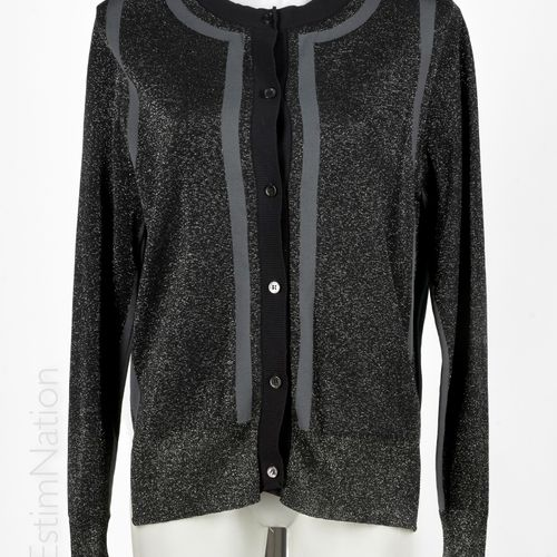 MARNI CARDIGAN in wool, viscose and lurex knitwear black and grey, bottle green …