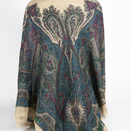 YVES SAINT LAURENT Vintage STOLE in fringed wool stamen printed with cashmere an…