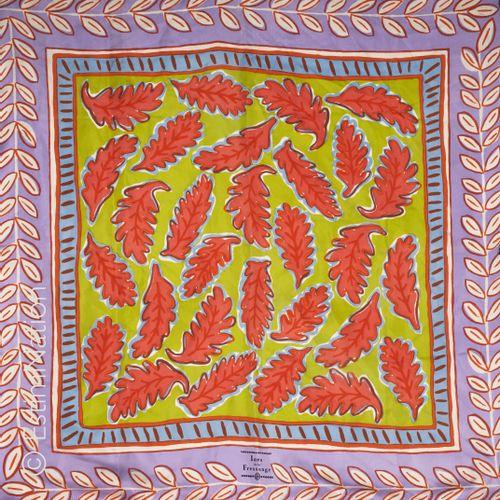 Inès de LA FRESSANGE SQUARE in silk twill printed with oak leaves on a green bac…