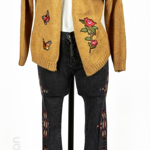 JOHANNA, BDG WOOL and acrylic knit VEST with mustard embroidered with flowers an…