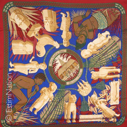 "HERMES Paris SQUARE in printed silk twill titled ""Royal Treasure of Benin"" (in i…"