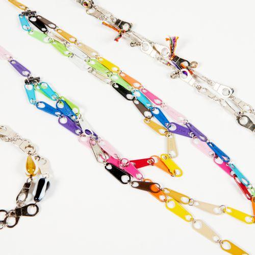 ZOÉ Multicoloured metal zip style necklace, a second metal coloured zip style, m…