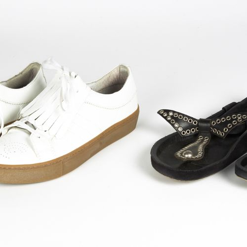 ISABEL MARANT, BENSIMON PAIR OF LOW WOODY FABRICS in black suede with eyelets (P…
